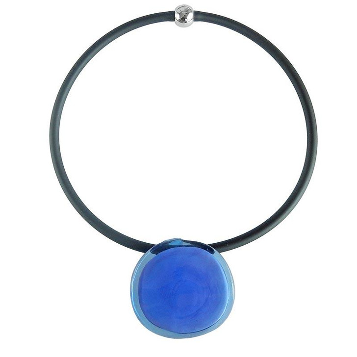 Murano Glass Disco #2 Blue Rose Necklace
