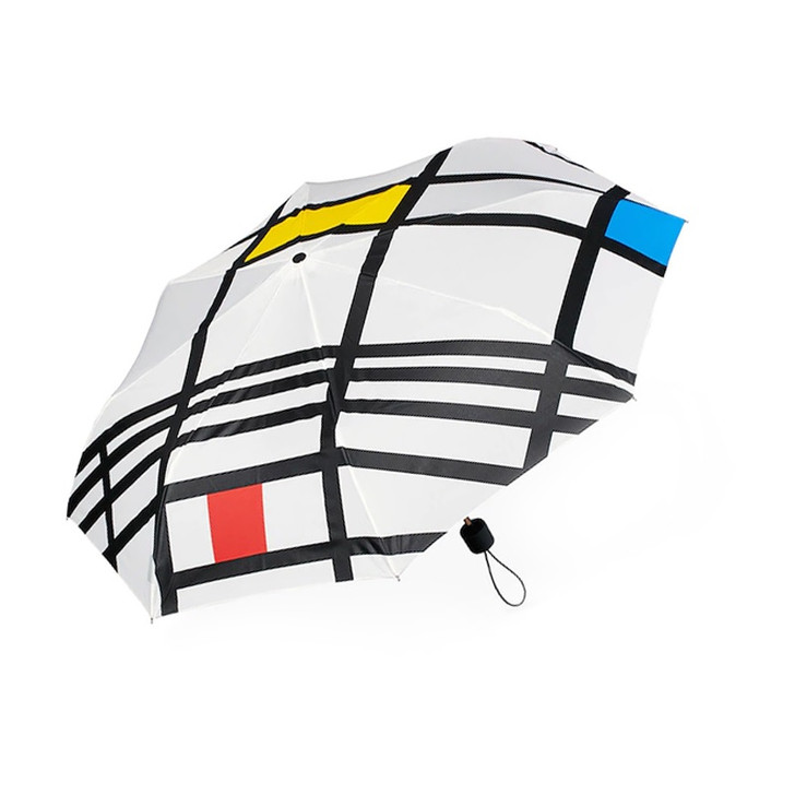 Mondrian White Folding Umbrella