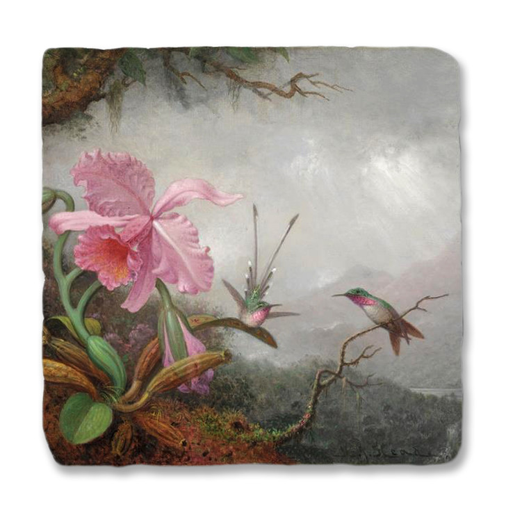Martin Heade's Hummingbirds and Orchids Coaster