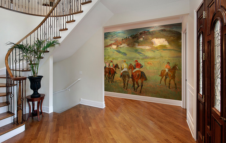 Jockeys on Horseback before Distant Hills Wallpaper Mural