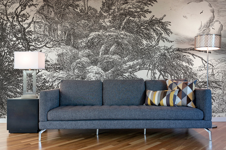 Cottage on the Summit of the Hill Wallpaper Mural