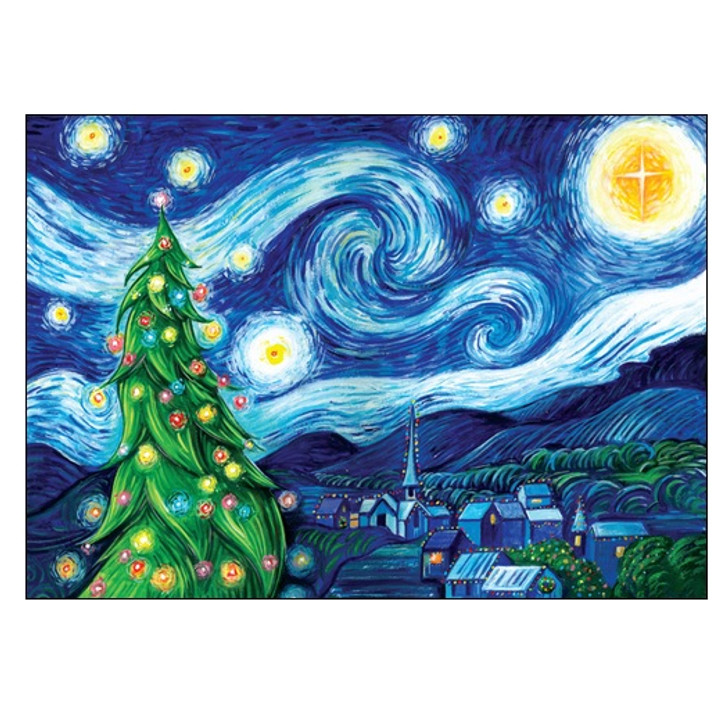 Unique Boxed Christmas Cards.Silent Night Starry Night Boxed Holiday Cards