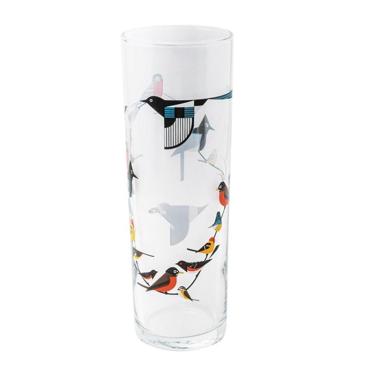 Charley Harper Birds on a Vine Glass