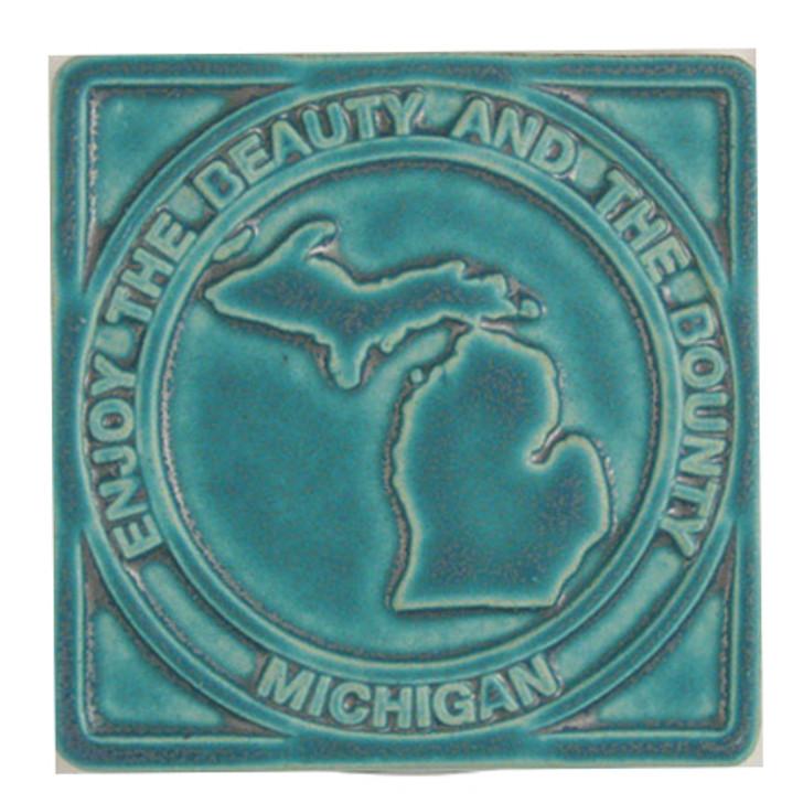 Pewabic Pottery Michigan Enjoy the Beauty & Bounty Tile Assorted