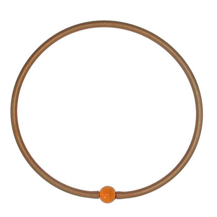 Tubino Necklace Gold/Amber Murano Glass Bead