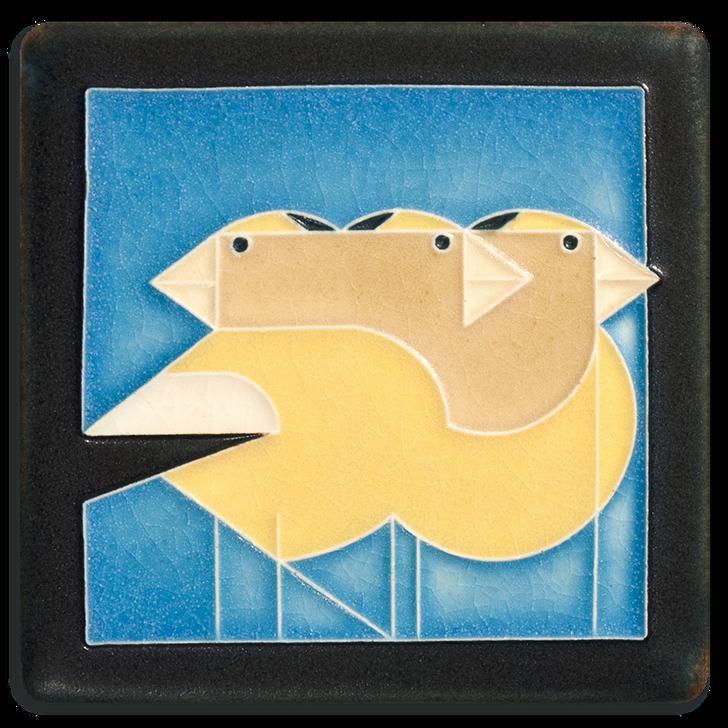 Motawi Tileworks Charley Harper Gregarious Grosbeaks Tile Blue 4x4