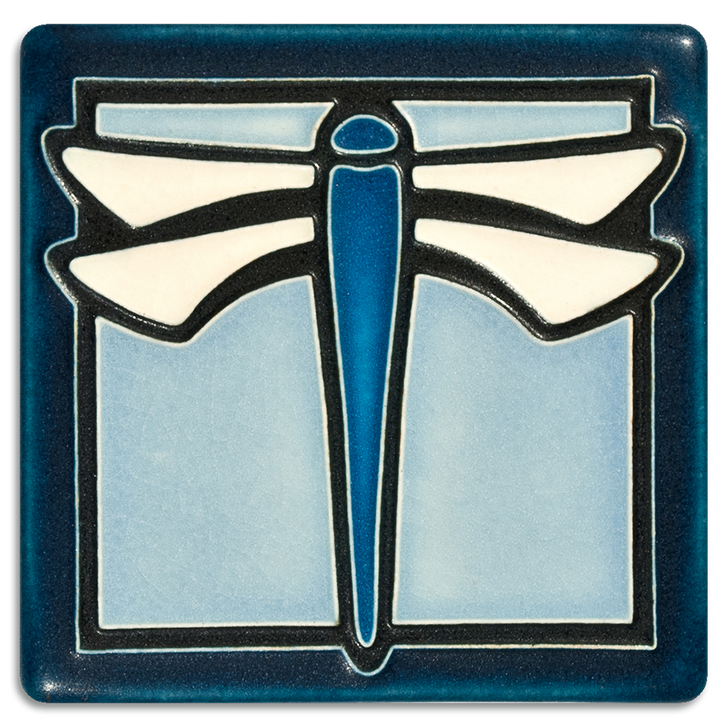 Motawi Tileworks Dragonfly Tile Light Blue 4x4