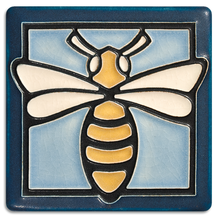 Motawi Tileworks Bee Tile Light Blue 4x4