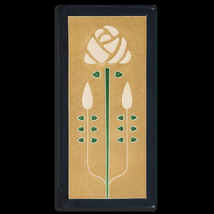 Motawi Tileworks Long Stem Flower Golden Tile 4x8