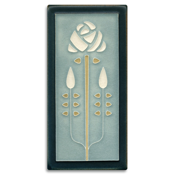 Motawi Tileworks Long Stem Flower Grey Blue  4x8