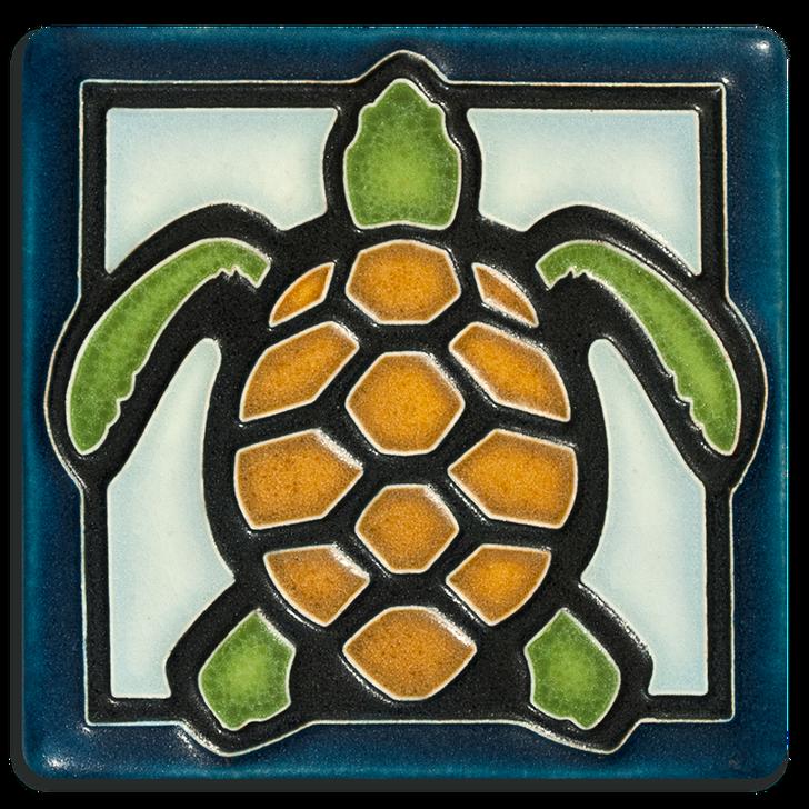 Motawi Tileworks Turtle Tile Light Blue 4x4