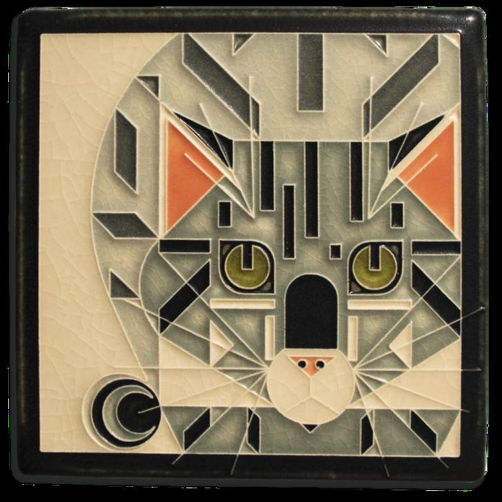 Catnip, Charley Harper Motawi Tile Grey 6x6