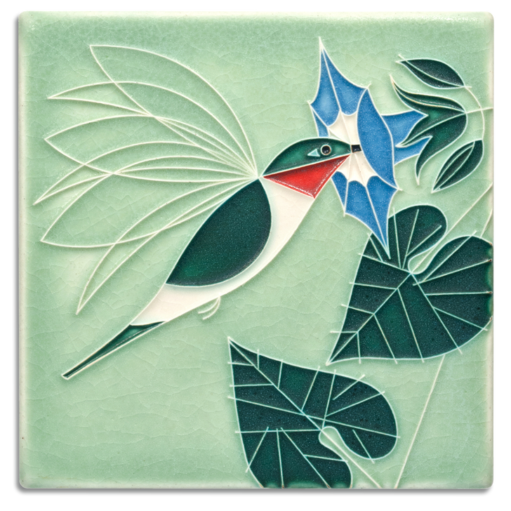 Little Sipper, Charley Harper Motawi Tile Mint 6x6