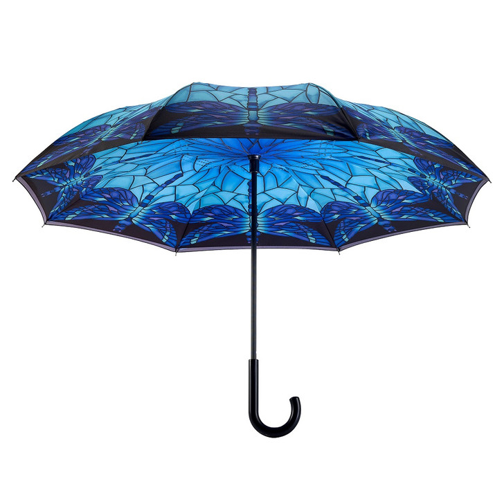Stained Glass Dragonfly Reverse Umbrella
