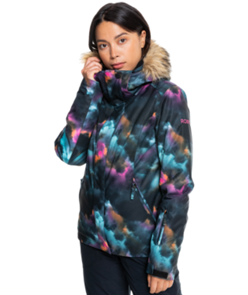Bright and bold prints make this 10K snow jacket for women a stand-out piece of the Essentials Collection. Feminine and flattering!