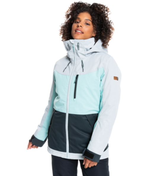 Equipped with DryFlight® waterproof technology, warm but low bulk insulation, and seam taping at critical zones around the neck, shoulders, and chest, the ROXY Presence Snow Jacket of the White Wave Collection won't let you down.