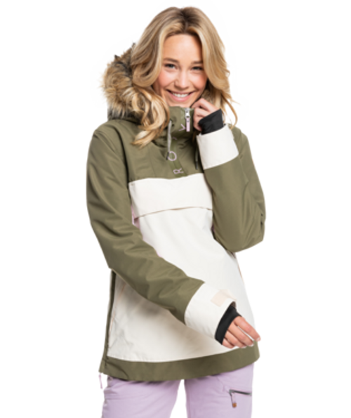 The pullover Shelter Snow Jacket for women holds true to its name: sheltering you from wet and cold conditions with 10K ROXY DryFlight® waterproof technology and lightweight WarmFlight® eco insulation.