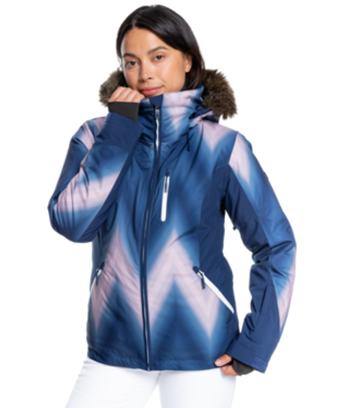 Waterproof and insulated, the form-fitting jacket has fully taped seams and mesh-lined underarm vents for instant breathability when needed.