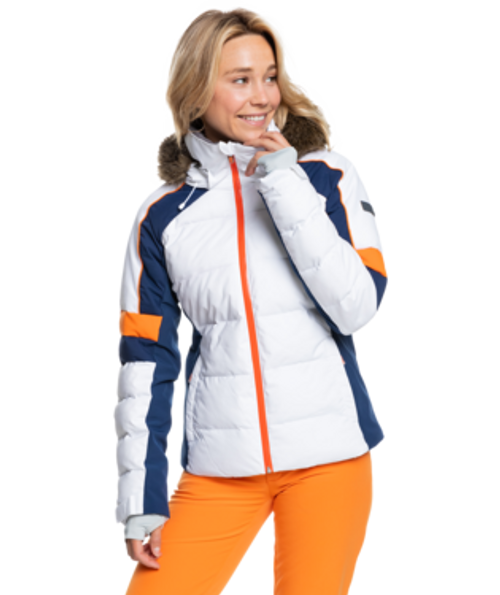 Stay up to date on winter style with the slim-fit Snow Blizzard Snow Jacket for women. The durable construction is crafted with 15K ROXY DryFlight® waterproofing technology to keep you totally dry in the roughest weather conditions.