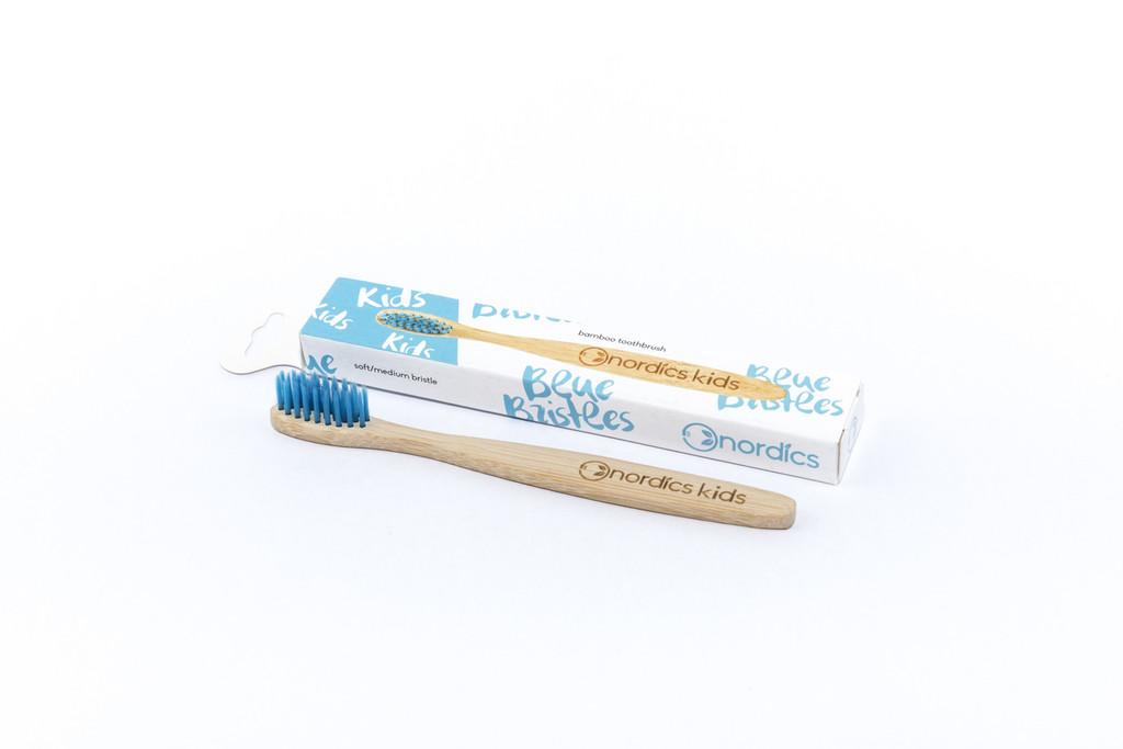 Kids Bamboo Toothbrush With Blue Bristles