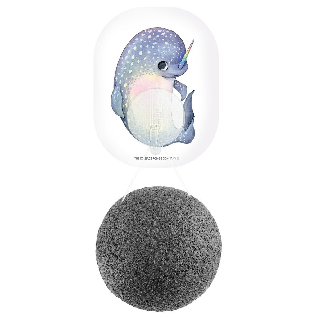 Mythical Narwhal Konjac Face Sponge & Hook - Bamboo Charcoal