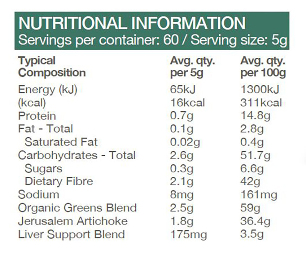 Raw Prebiotic Greens 120g