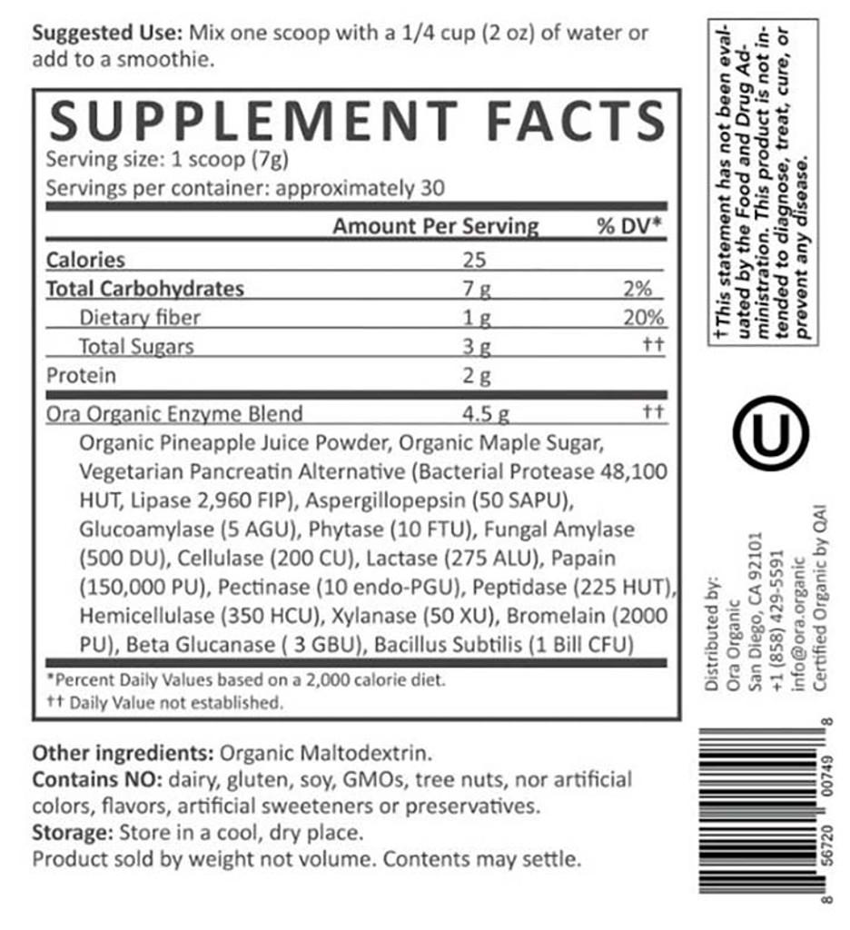 Plant-Based Digestive Enzymes Powder 210g