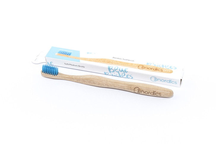 Bamboo Toothbrush With Blue Bristles