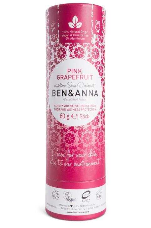 Natural Soda Deodorant Paper Tube - Pink Grapefruit 60g