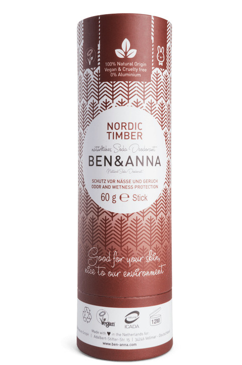 Natural Soda Deodorant Paper Tube - Nordic Timber 60g