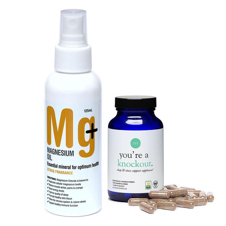 Sleep & Stress Support Capsules 60 caps + Natural Aid Magnesium Oil Citrus 125ml
