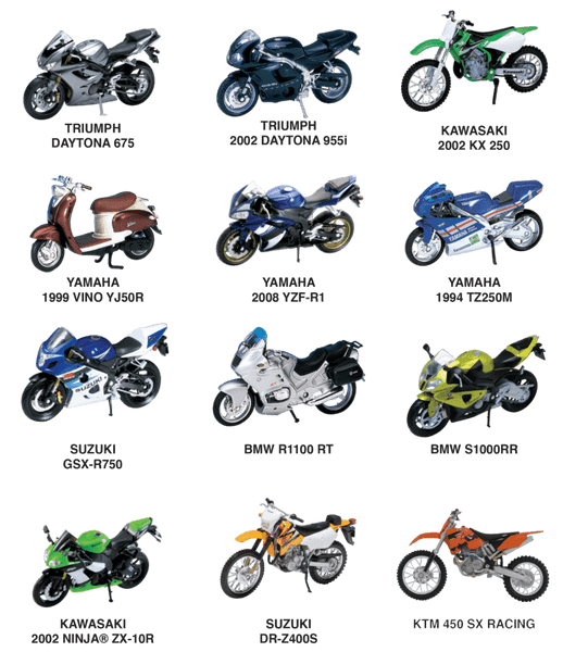 Diecast Motorcycle Reorder Pack - 12 pc