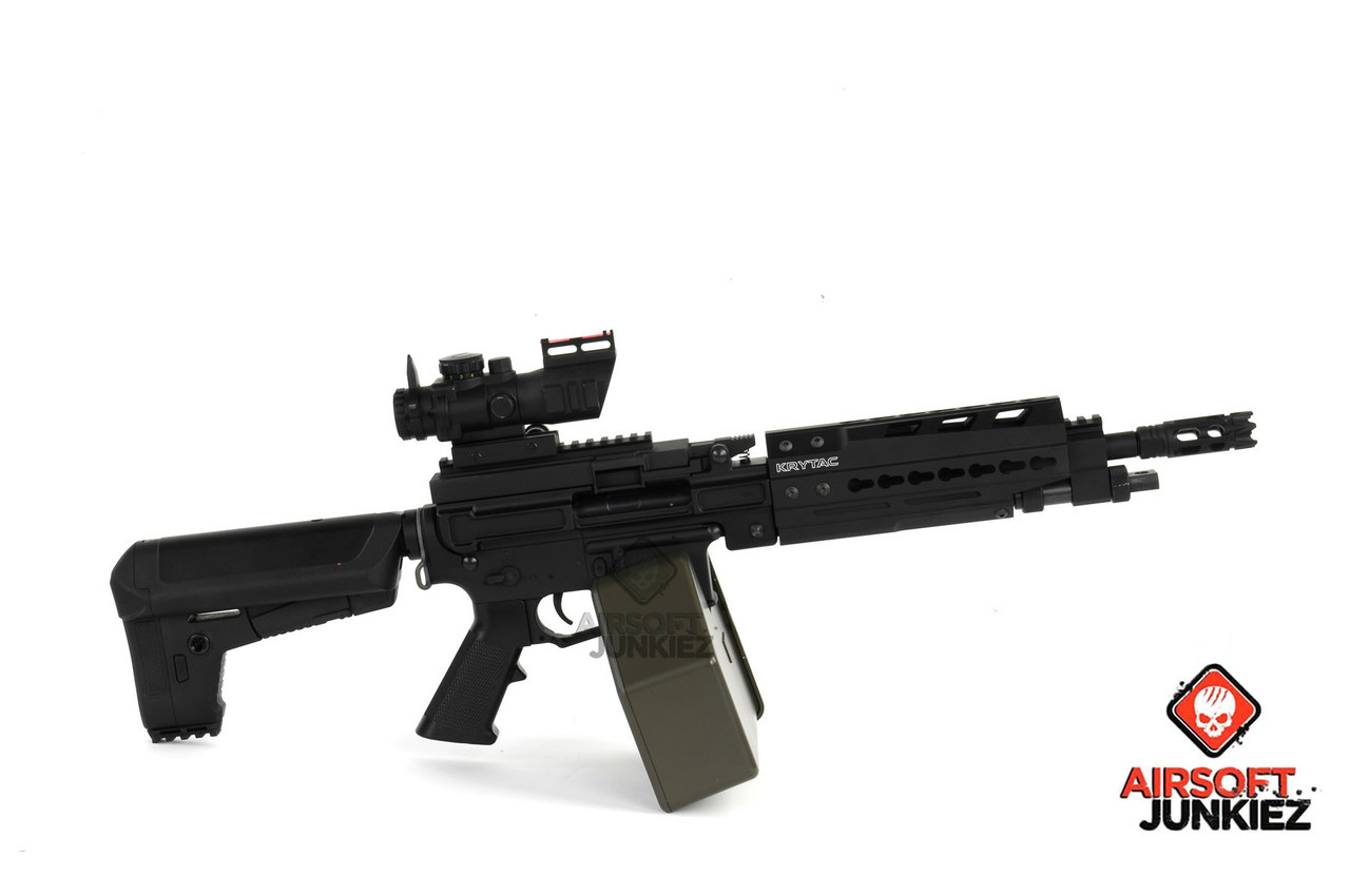 Krytac Full Metal Trident LMG Enhanced Airsoft AEG with Keymod - Black