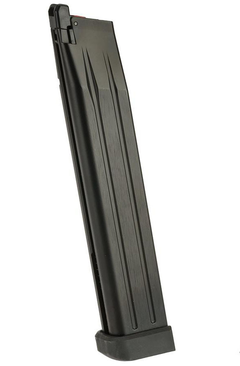AW Custom Spec 50 Round Green Gas Extended Magazine for HI-CAPA Gas Blowback Airsoft Pistols - Black