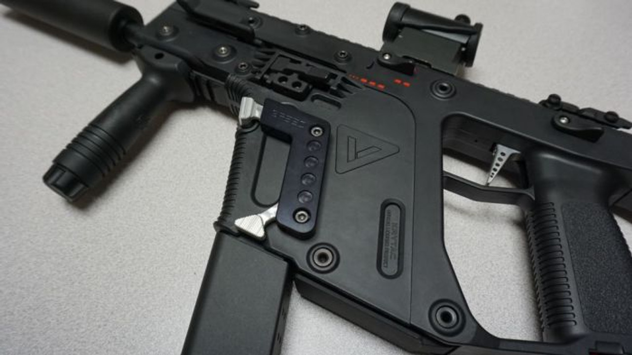 SPEED AIRSOFT MAGAZINE RELEASE FOR KRISS VECTOR AEG IN  BLACK/SILVER (SA3910)