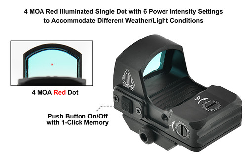 UTG Reflex Micro Dot, Red 4 MOA Single Dot, Adaptive Base - SCP-RDM2OR