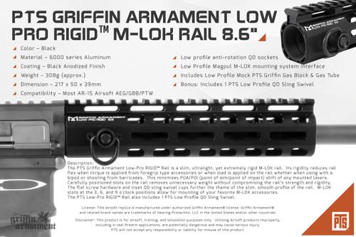 """PTS GRIFFIN ARMAMENT LOW PRO RIGID™ M-LOK RAIL 8.6"""""""