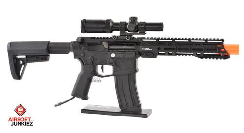 AirsoftJunkiez EMG Helios F4-15 ARS-L MLOK PDW M4 Airsoft AEG Rifle - Black HPA Package