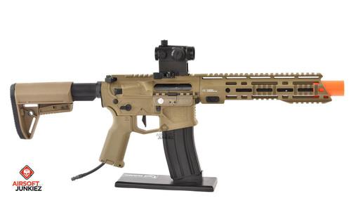 AirsoftJunkiez EMG Helios F4-15 ARS-L MLOK PDW M4 Airsoft AEG Rifle - Tan HPA Package