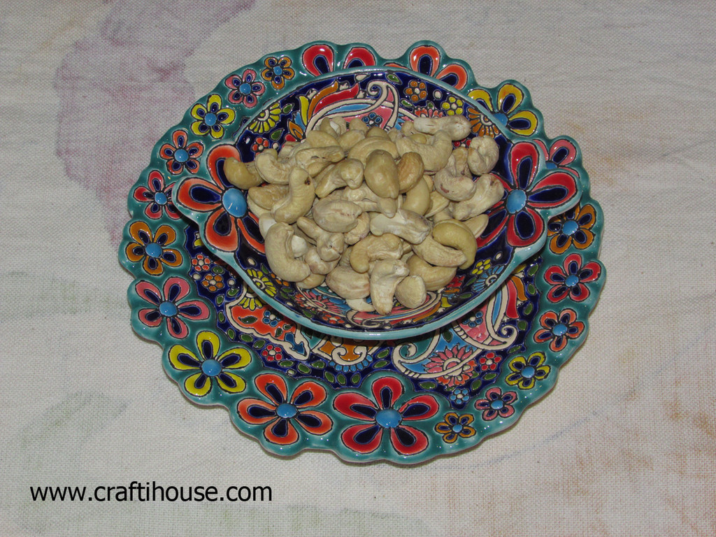 Hand Enamel painted set of earthenware plate & bowl