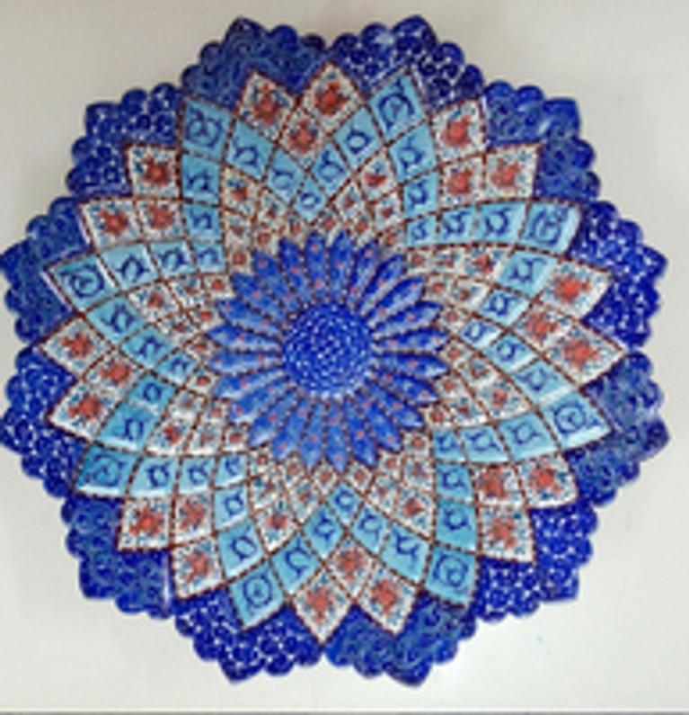 Minakari , hand enamel painted copper plates , copper vase ,