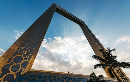 Dubai Frame selfie by the world's largest frame in Dubai