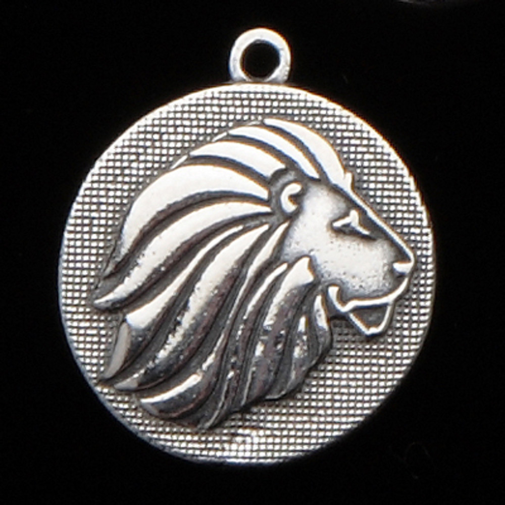 Sterling Silver Lion Mascot Medallion Charm