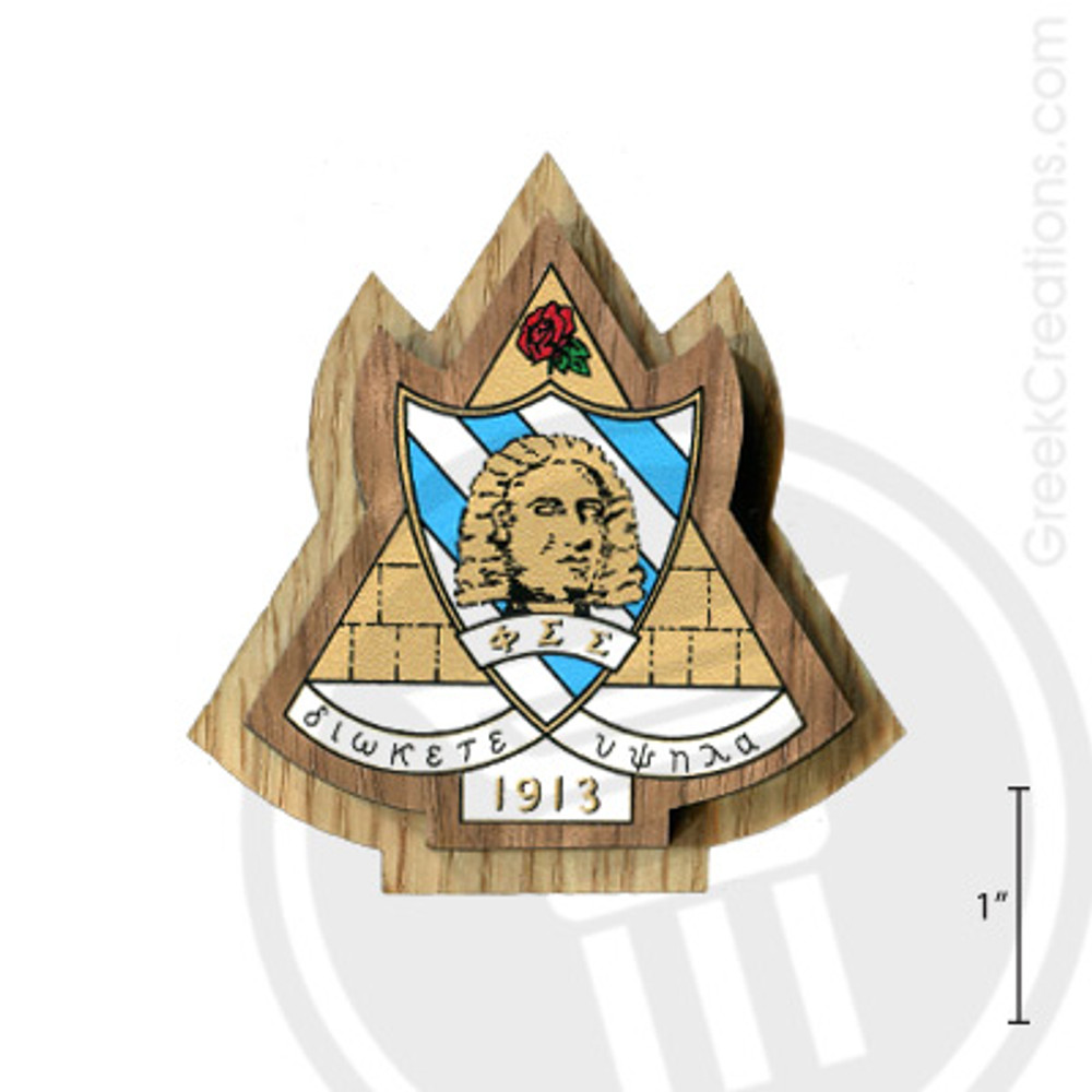 Phi Sigma Sigma Large Raised Wooden Crest