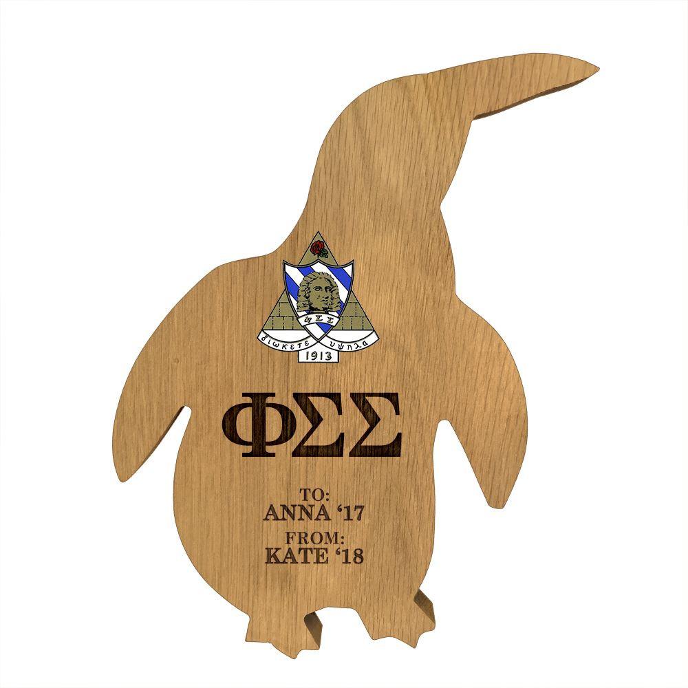 Phi Sigma Sigma Penguin Paddle Plaque