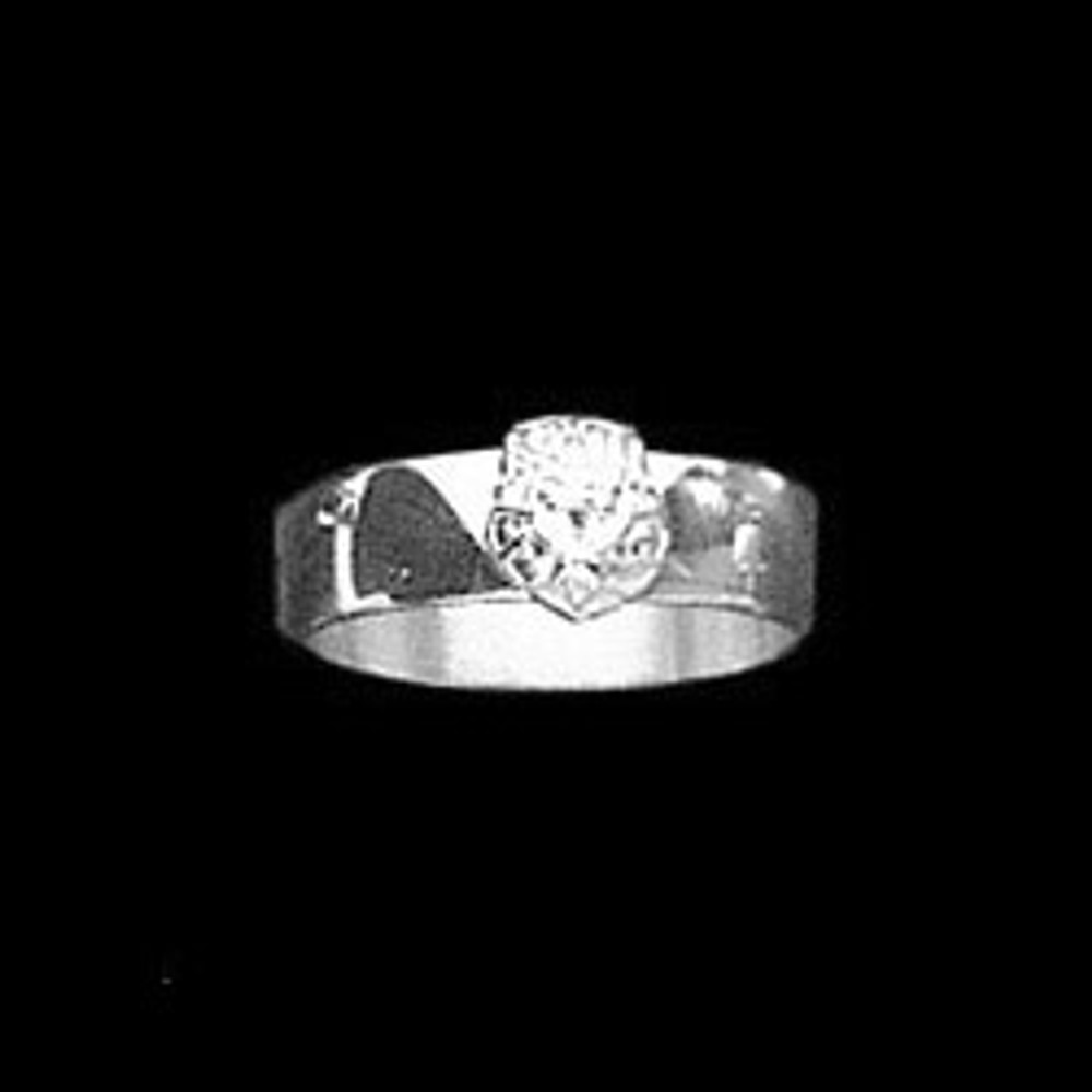 Sterling Silver 6mm Sorority Ring with Crest