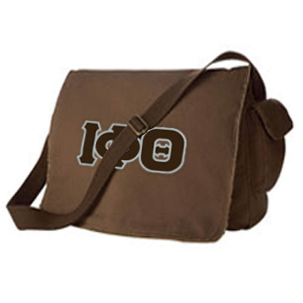 Raw-Edge Messenger Bag with Sewn-On Letters