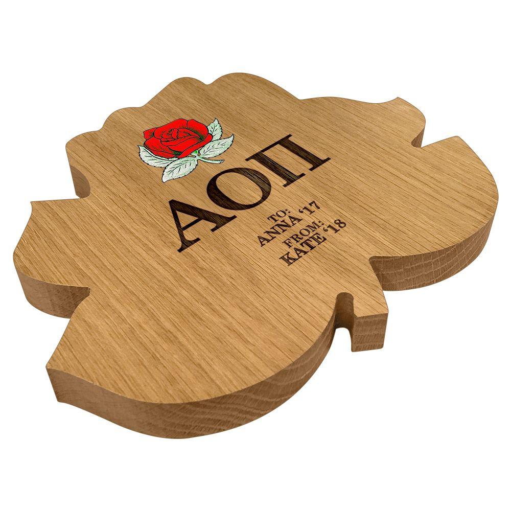 Alpha Omicron Pi Rose Paddle Plaque Side