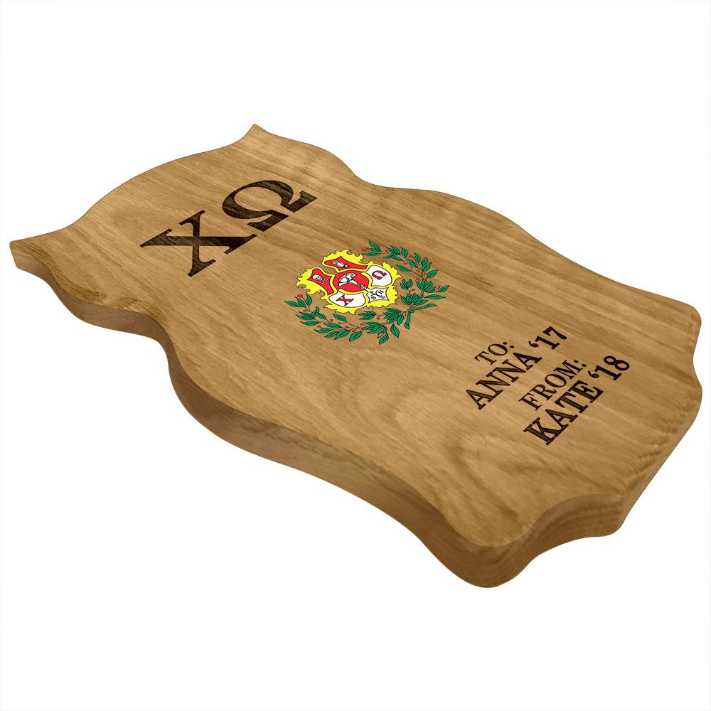 Chi Omega Owl Paddle Plaque Side