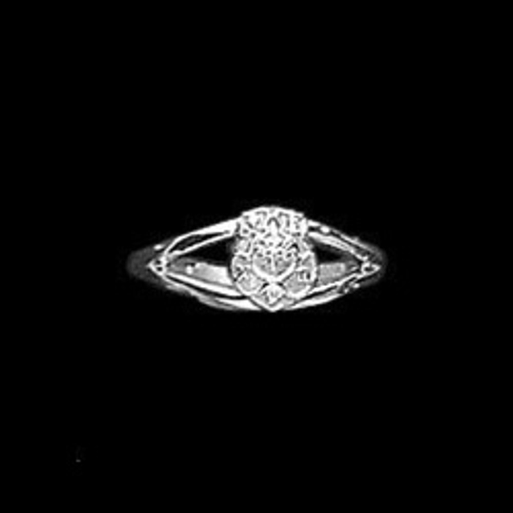 Sterling Silver Sorority Split Shank Ring with Crest